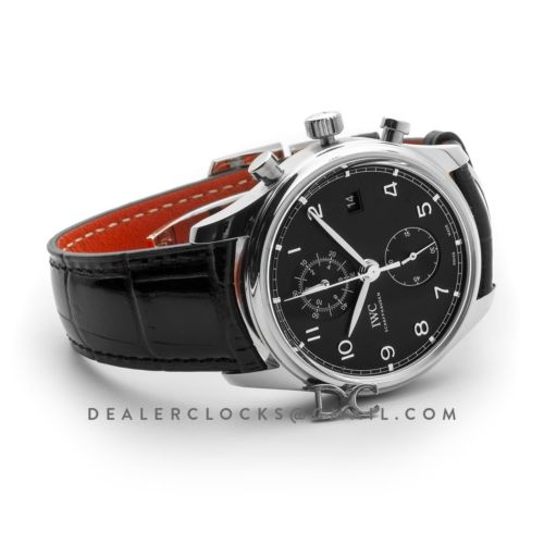 Portugieser Chronograph Classic IW3903 Black Dial in Steel