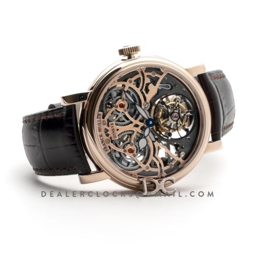 Giga Tourbillon Round Skeleton in Rose Gold on Brown Leather Strap