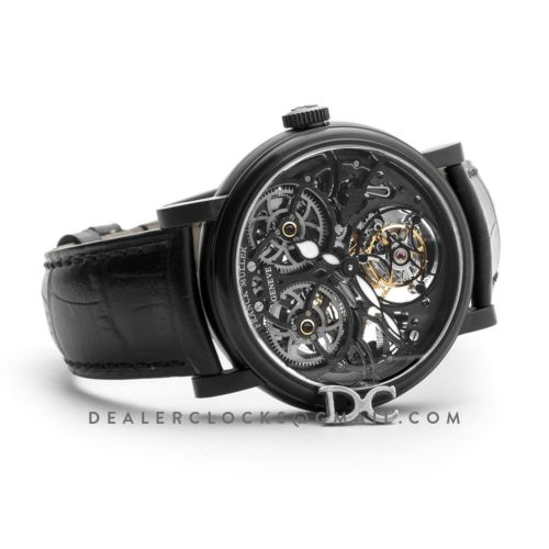 Giga Tourbillon Round Skeleton in PVD on Black Leather Strap