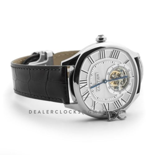 Drive de Cartier Tourbillon White Dial in White Gold on Black Leather Strap