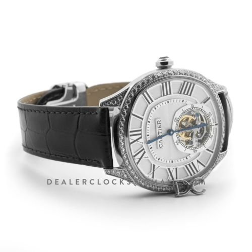 Drive de Cartier Tourbillon White Dial with Diamond Bezel in White Gold on Black Leather Strap