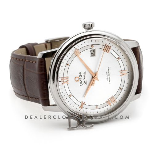 De Ville Co-Axial Chronometer White Dial with Rose Gold Markers in Steel