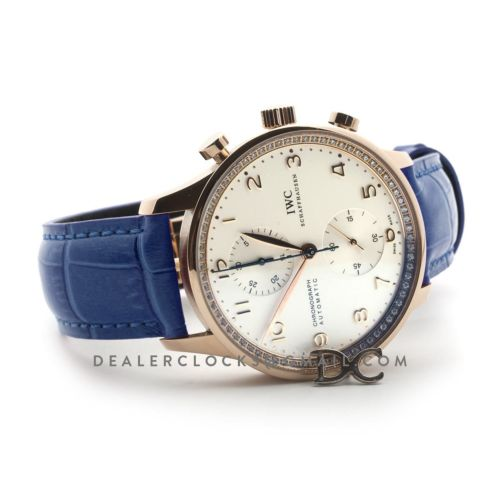 Portugieser Chronograph Automatic White Dial in Rose Gold on Blue Leather Strap