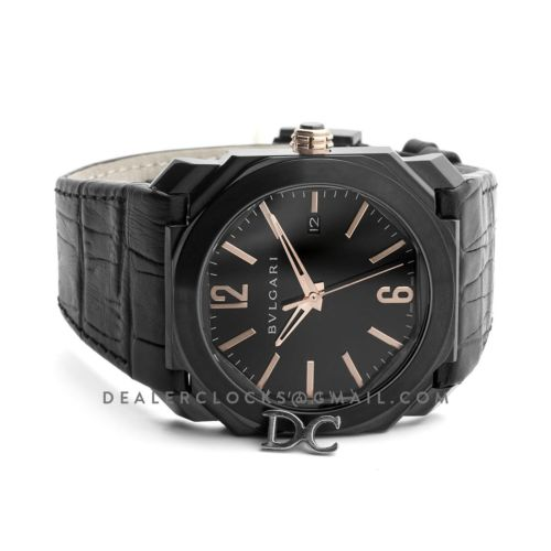 Octo Solotempo DLC Black Dial with Rose Gold Markers on Black Leather Strap