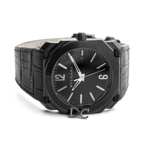 Octo Solotempo DLC Black Dial with Silver Markers on Black Leather Strap