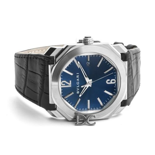Octo Solotempo Blue Dial with Silver Markers on Black Leather Strap