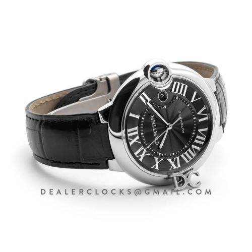 Ballon Bleu De Cartier 42mm Black Dial in Steel on Black Leather Strap