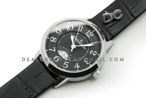 Rendez-Vous Date Black Dial in Steel on Black Leather Strap