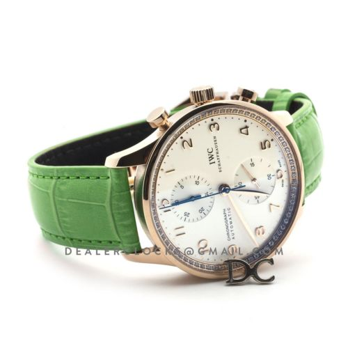 Portugieser Chronograph Automatic White Dial in Rose Gold on Green Leather Strap