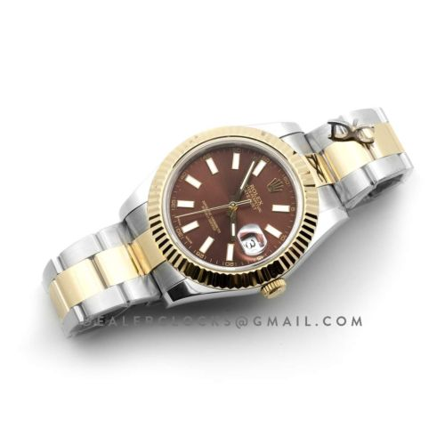 Datejust II 116233 Brown Dial in Yellow Gold/Steel with Stick Markers