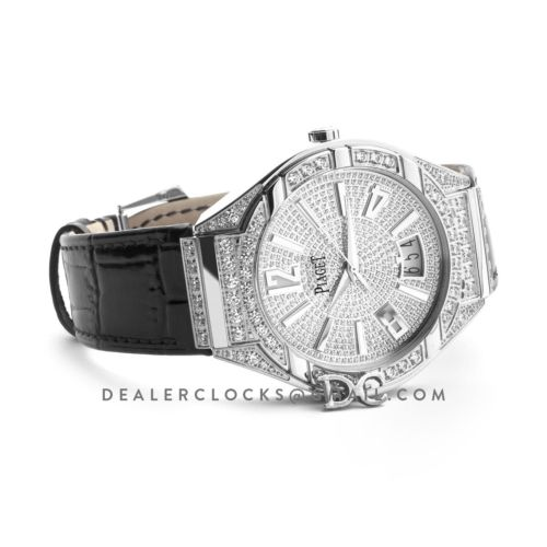 Polo Watch White Gold Paved Diamonds