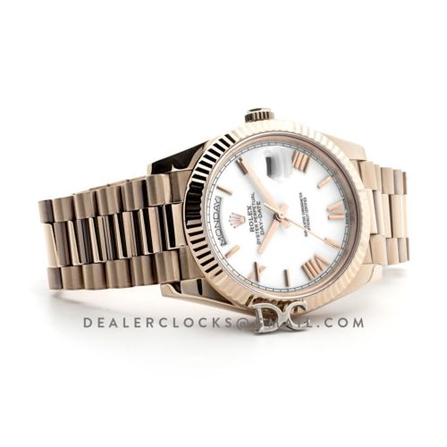 Day-Date 40 228235 White Dial in Everose Gold