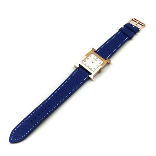 Heure H Rose Gold on Blue Epsom Leather Strap
