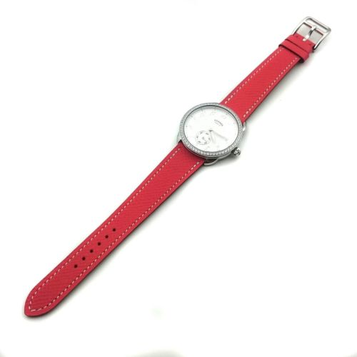 Arceau Petite Steel with Diamond Bezel on Vermilion Epsom Leather Strap