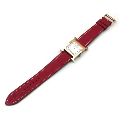 Heure H Rose Gold on Red Epsom Leather Strap