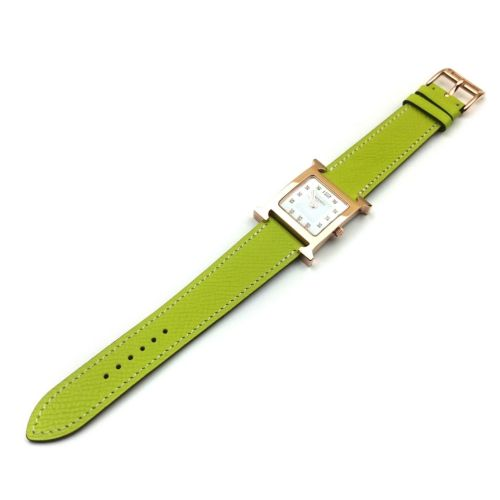 Heure H Rose Gold with Diamond Markers on Green Epsom Leather Strap