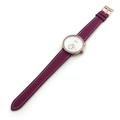 Arceau Petite Rose Gold with Diamond Bezel on Violet Epsom Leather Strap