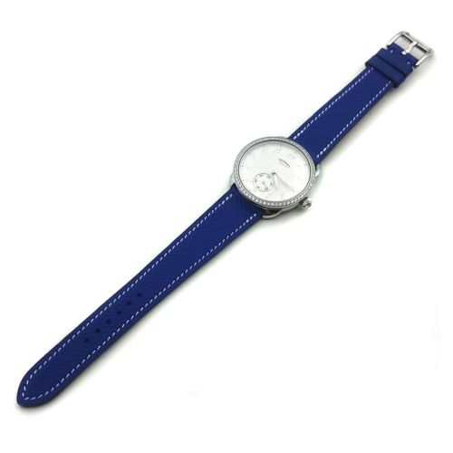 Arceau Petite Steel with Diamond Bezel on Blue Epsom Leather Strap