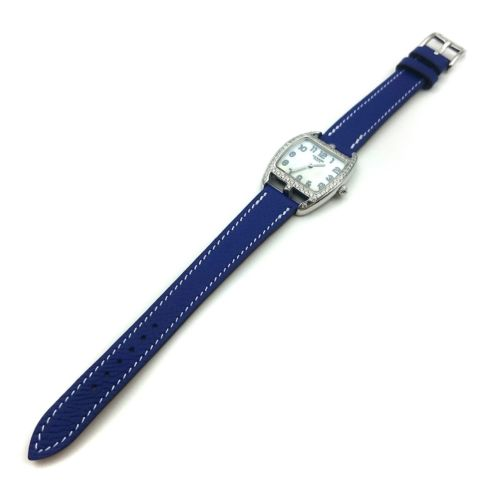 Cape Cod Tonneau Steel with Diamond Bezel on Blue Epsom Leather Strap
