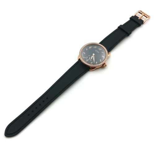 Arceau Petite Rose Gold with Diamond Bezel Black Dial on Black Fjord Leather Strap