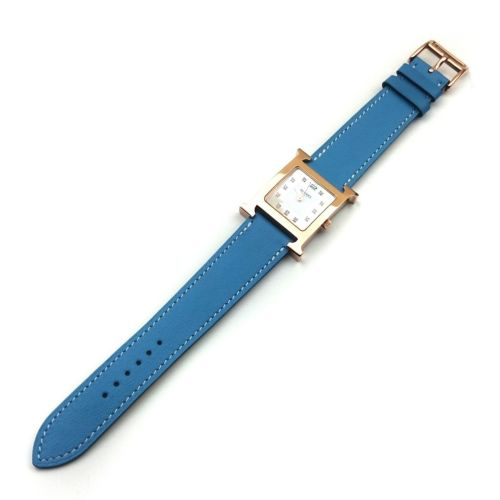 Heure H Rose Gold with Diamond Markers on Light Blue Fjord Leather Strap
