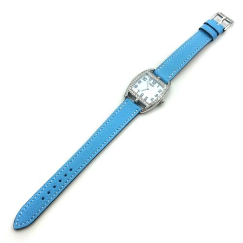 Cape Cod Tonneau Steel with Diamond Bezel on Light Blue Epsom Leather Strap