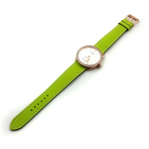 Arceau Petite Rose Gold with Diamond Bezel on Green Epsom Leather Strap