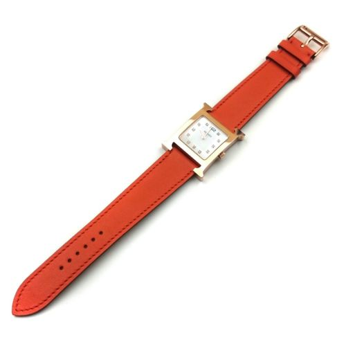 Heure H Rose Gold with Diamond Markers on Orange Fjord Leather Strap