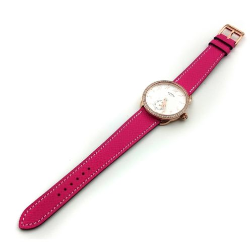 Arceau Petite Rose Gold with Diamond Bezel on Pink Epsom Leather Strap