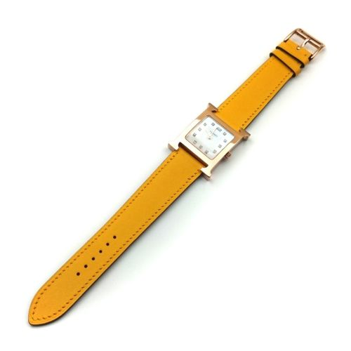 Heure H Rose Gold with Diamond Markers on Yellow Fjord Leather Strap