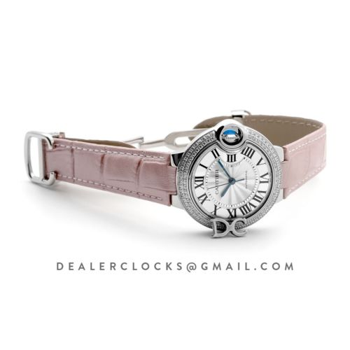 Ballon Bleu De Cartier 36mm Silver Dial with Diamond Bezel in Steel on Pink Leather Strap