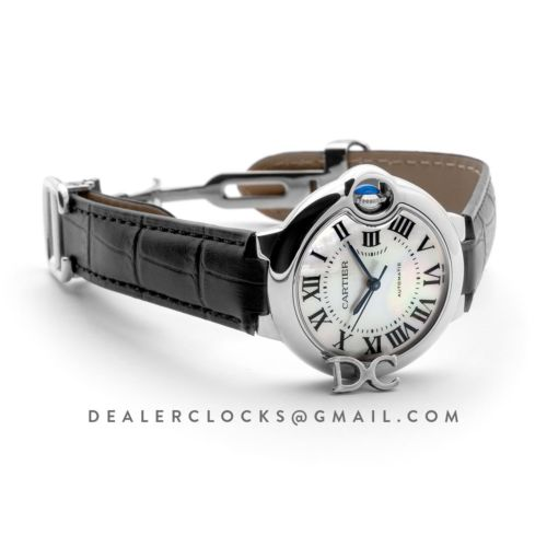 Ballon Bleu De Cartier 33mm White Mother Of Pearl Dial in Steel on Black Leather Strap