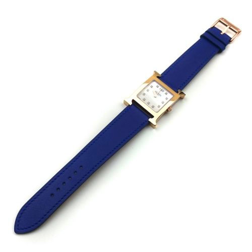 Heure H Rose Gold with Diamond Markers on Blue Fjord Leather Strap