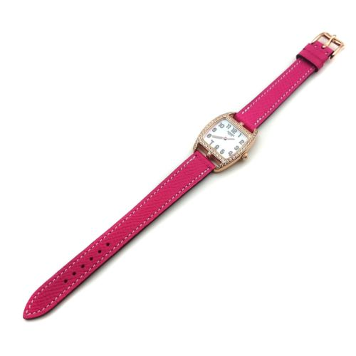 Cape Cod Tonneau Rose Gold with Diamond Bezel on Pink Epsom Leather Strap