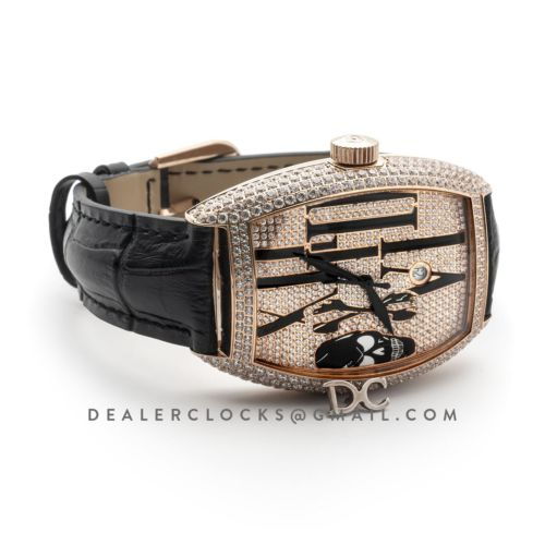 Cintree Curvex Tononke Gothique Diamond Dial in Rose Gold Diamond Paved Bezel
