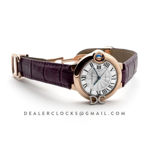 Ballon Bleu De Cartier 36mm Silver Dial in Pink Gold on Purple Leather Strap