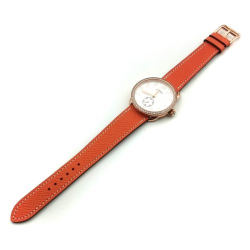 Arceau Petite Rose Gold with Diamond Bezel on Orange Epsom Leather Strap