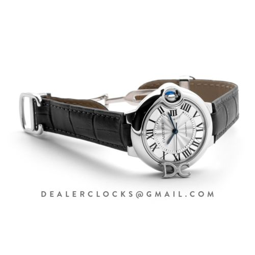 Ballon Bleu De Cartier 36mm Silver Dial in Steel on Black Leather Strap