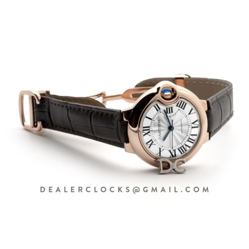 Ballon Bleu De Cartier 36mm Silver Dial in Pink Gold on Brown Leather Strap