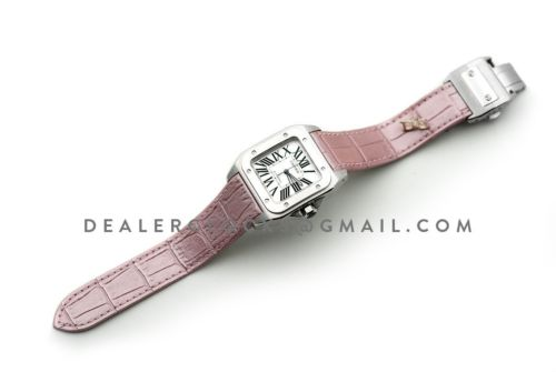 Santos 100 Ladies 33mm White Dial in Steel