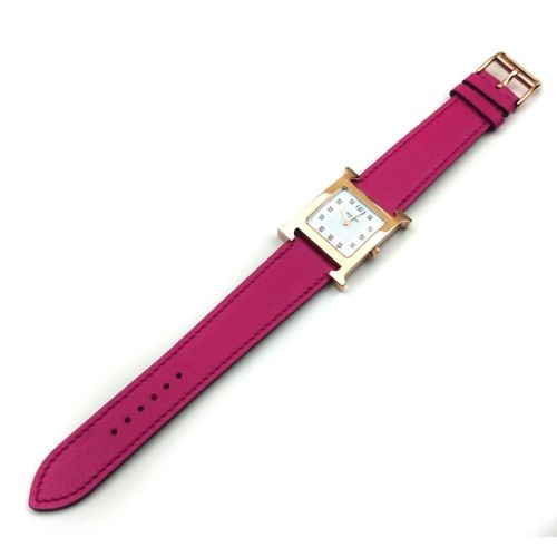 Heure H Rose Gold with Diamond Markers on Pink Fjord Leather Strap