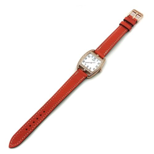 Cape Cod Tonneau Rose Gold with Diamond Bezel on Orange Epsom Leather Strap
