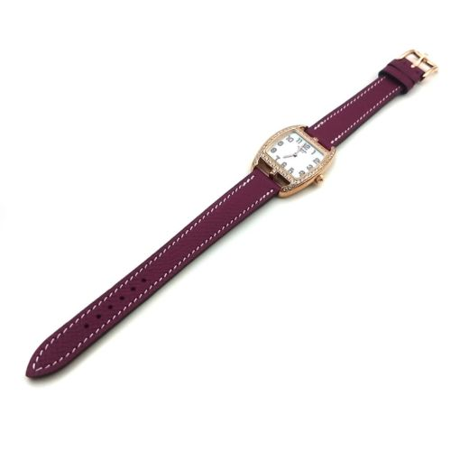 Cape Cod Tonneau Rose Gold with Diamond Bezel on Violet Epsom Leather Strap