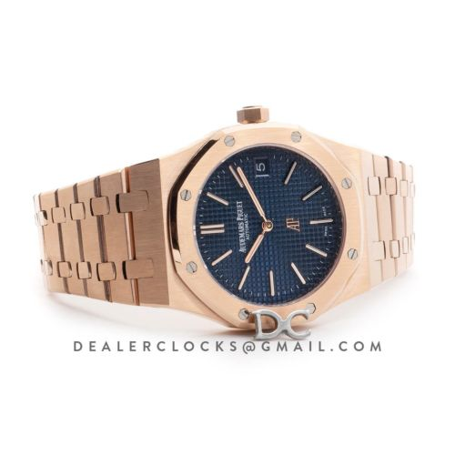 Royal Oak 15202 Rose Gold Blue Dial on Bracelet