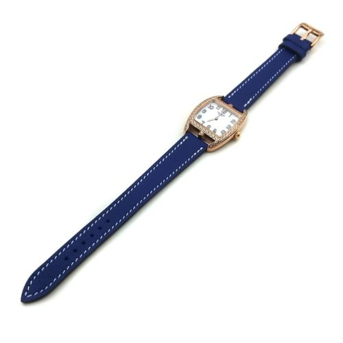 Cape Cod Tonneau Rose Gold with Diamond Bezel on Blue Epsom Leather Strap