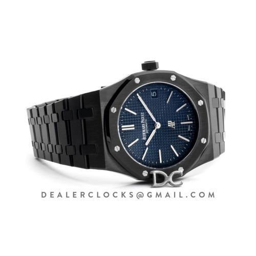 Royal Oak 15202 DLC Black Blue Dial on Bracelet