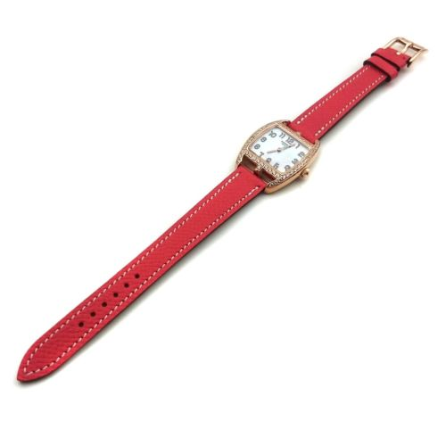 Cape Cod Tonneau Rose Gold with Diamond Bezel on Vermilion Epsom Leather Strap