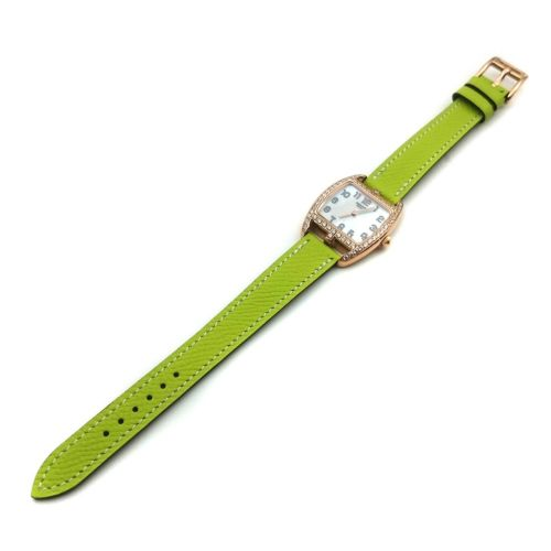 Cape Cod Tonneau Rose Gold with Diamond Bezel on Green Epsom Leather Strap