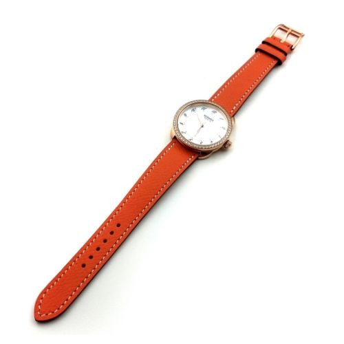 Arceau Rose Gold with Diamond Bezel on Orange Epsom Leather Strap