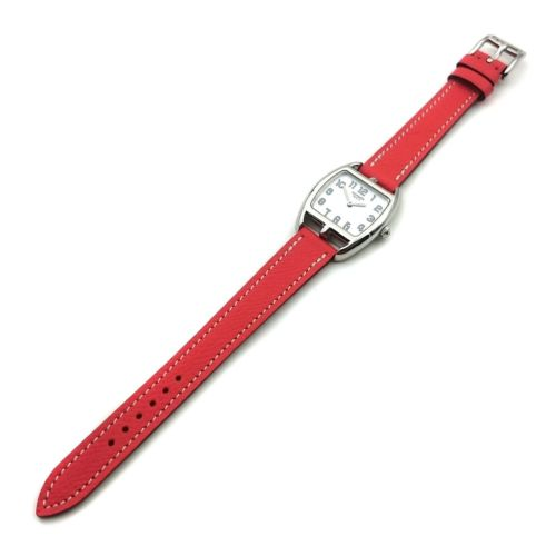 Cape Cod Tonneau Steel on Vermilion Epsom Leather Strap